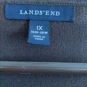 A Lands End Brown Cardigan. It is a 1X